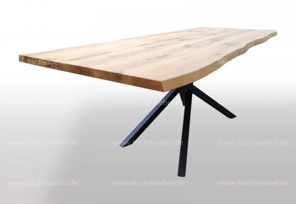 Esstisch mit Baumkante auf Mikado Tischgestell