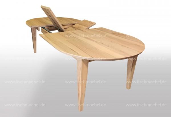 ovaler Tisch massiv 170 x 110 Auszugsfunktion Mittelauszug mit 2x40cm