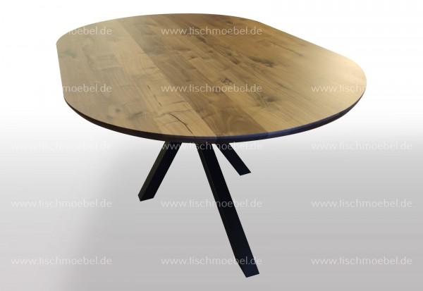 Massiver Nussbaum Tisch auf Spider Gestell oval 150x100cm