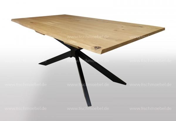 Esstisch mit Naturkante auf Spider Untergestell 130x100cm
