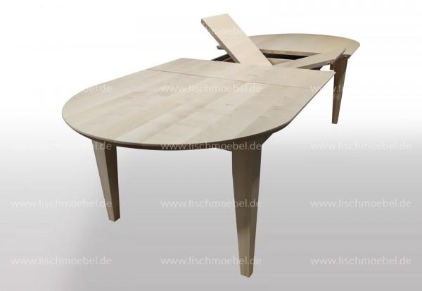 Holztisch Ahorn ausziehbar oval 140 x 110cm