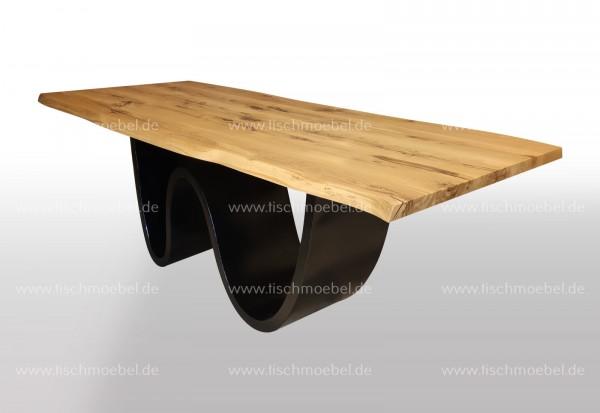 Baumtisch Wildeiche 180x90 auf Wave Tischuntergestell