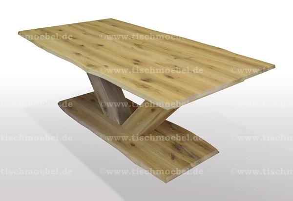 Esstisch-nach-mass-mit-Baumkante-asteiche-massiv-ausziehbar-V-Untergestell