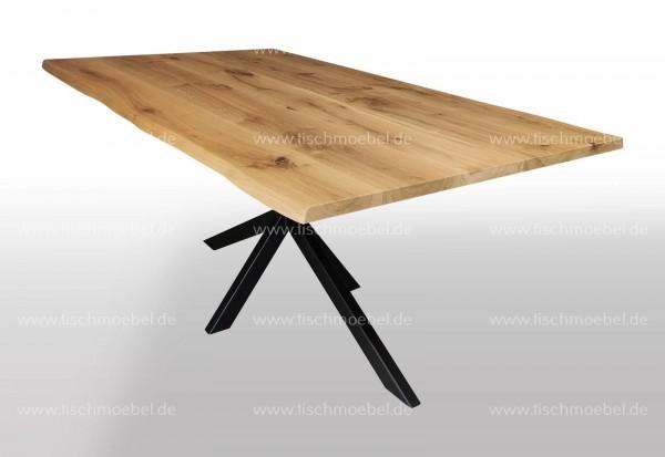 Baumtisch Wildeiche ausziehbar auf Kreuzgestell