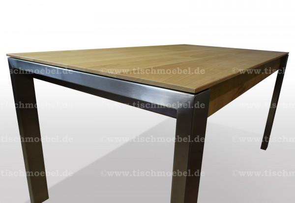 Tisch Wildeiche 160x80cm ausziehbar per Kulissenauszug mit Edelstahl Untergestell