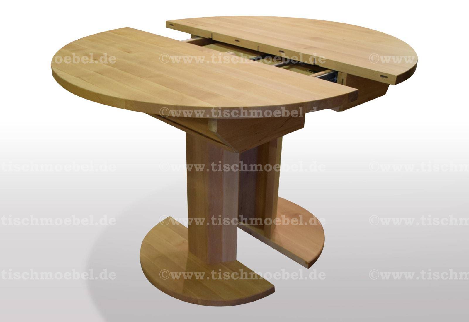 Tisch Rund Ausziehbar Erle Massiv 110cm Durchmesser Tischmoebel De