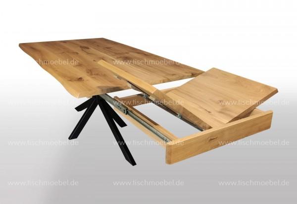 Baumtisch Wildeiche ausziehbar auf Kreuzgestell Klappeinlage Kopfauszug 210x90cm