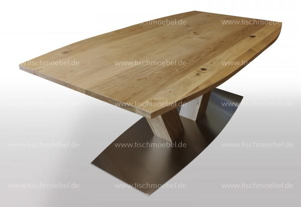 Tisch bootsform ausziehbar Wildeiche massiv nach Maß 200x100 cm