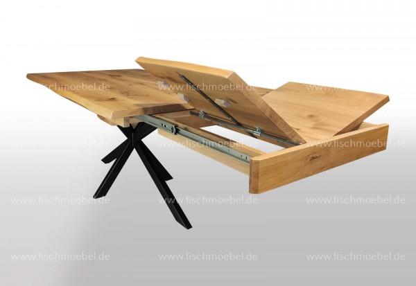 Tische Eiche mit Baumkante ausziehbar auf Kreuzgestell Klappeinalge Kopfauszug