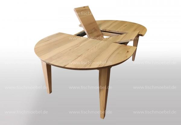 Tisch oval Kernbuche massiv 160x110cm ausziehbar per Mittelauaszug um 2x40cm Beine konisch