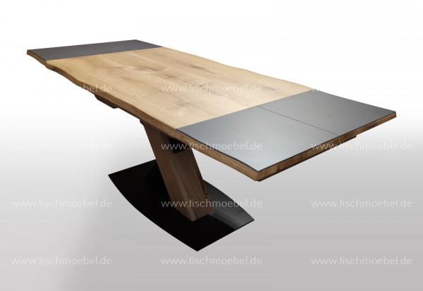 Baumkanten Tisch 160x110 cm Wildeiche ausziehbare Keramikplatten