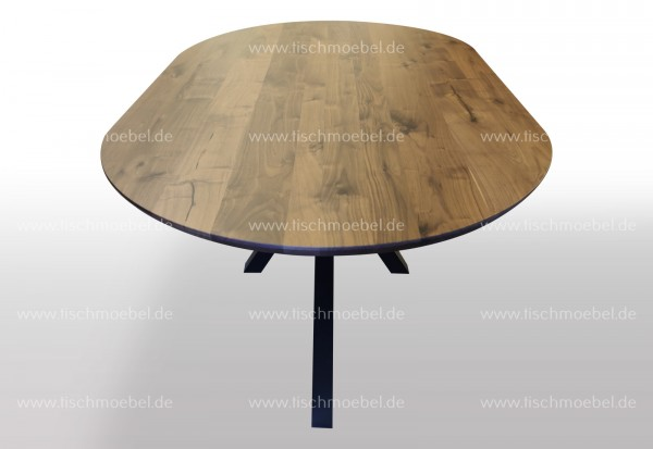 Ovaler Nussbaumtisch aus Massivholz aus Spider Gestell 160x90cm