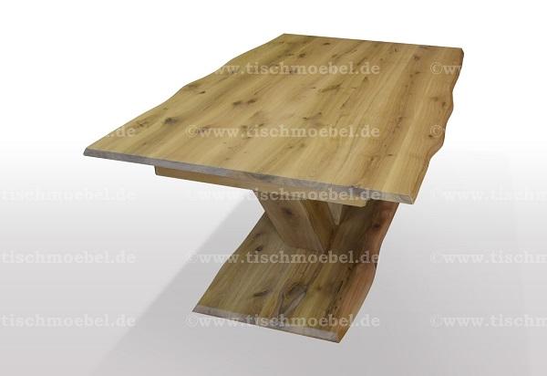 Ausziehtisch-nach-mass-mit-Baumkante-asteiche-massiv-ausziehbar-V-Untergestell