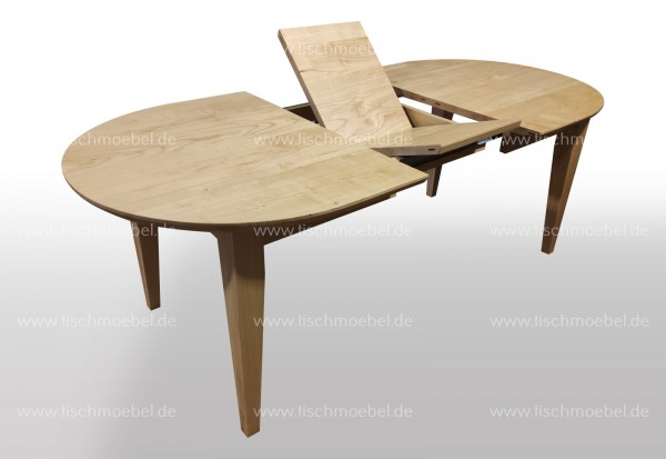ovaler Massivholztisch 150 x 100 cm ausziehbar Kirsche europäisch