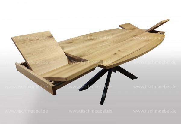 Tisch Bootsform Eiche ausziehbar 140x100 auf Spider Tischgestell