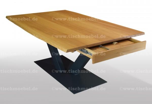 Baumtisch Kernbuche 200x100 auf V - Untergestell