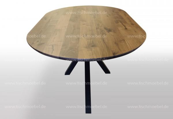 Massiver ovaler Esszimmertisch aus Nussbaum mit Spider Tischgestell 240x110cm