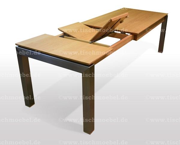 Tisch-ausziehbar-eiche-cube-edelstahlprofil-min