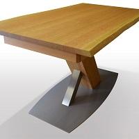 X-Untergestell-Holz-Edelstahl-auf-Edelstahlplatte-Fussplatte-als-Rechteck-oder-in-Bootsform-wahlbar
