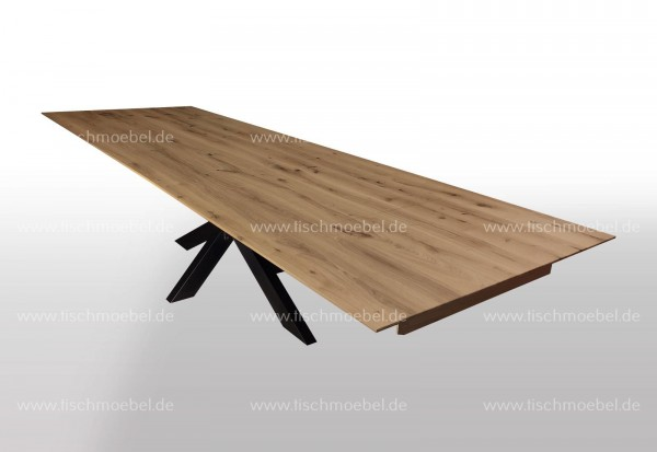 Tisch Wildeiche massiv ausziehbar auf Kreuzgestell 220x110cm 2x50cm Kopfauszug