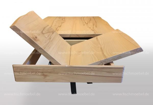 Baumtisch Kernbuche 120x80 auf Mikado Tischgestell ausziehbar