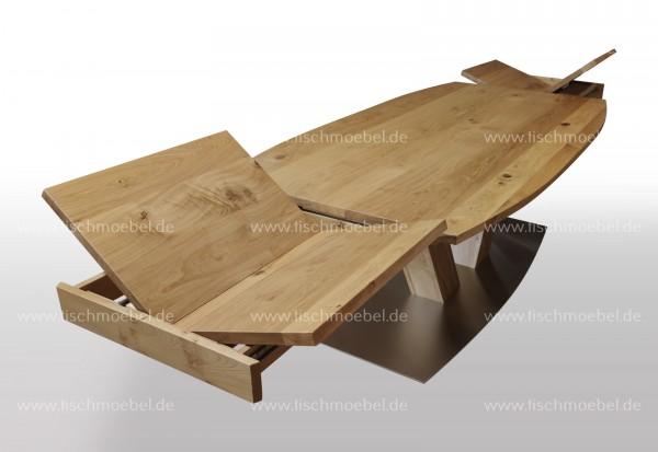 Tisch in bootsform Wildeiche ausziehbar 140x90cm