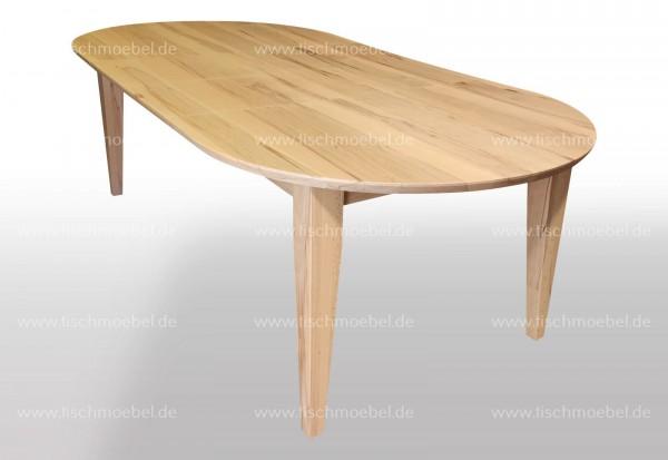 ovaler Tisch massiv 170x100 ausgezogen per Mittelauszug um 2x40cm