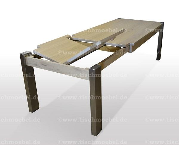 Holztisch-ausziehbar-eiche-bianco-massiv-edelstahl-beine-min