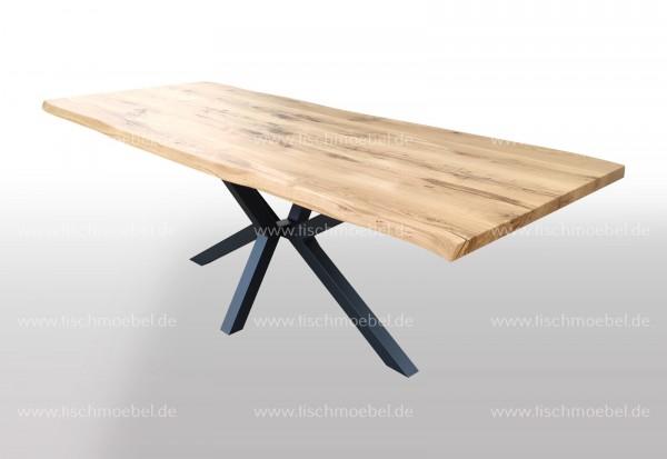 Baumtisch Wildeiche auf Kreuzgestell 180x90cm