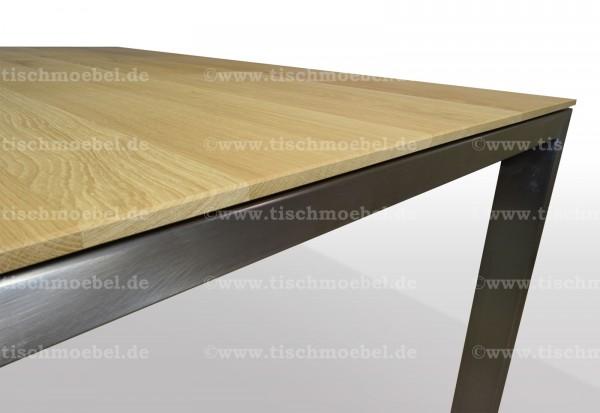 Tisch Wildeiche massiv 160x80x76cm ausziehbar per Kulissenauszug mit Edelstahl  Kopfprofil