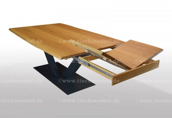 Esszimmertisch mit Naturkante aus Kernbuche 200x100 auf V - Untergestell