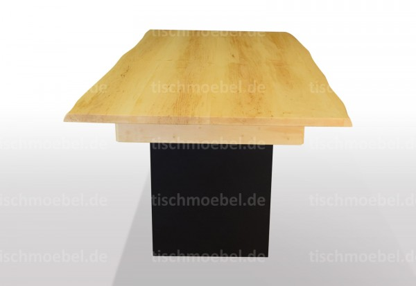 tisch mit naturkante erle ausziehbar massiv schwarzstahl wangentisch