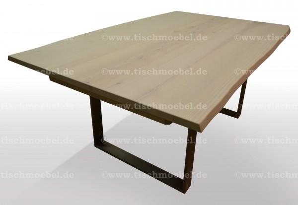 tisch mit naturkante esche ausziehbar edelstahl
