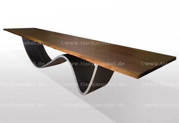 Baumtisch auf wellen Tischgestell