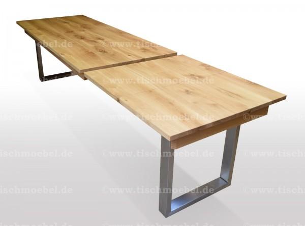 Tisch auf edelstahlkufen wildeiche ausziehbar min