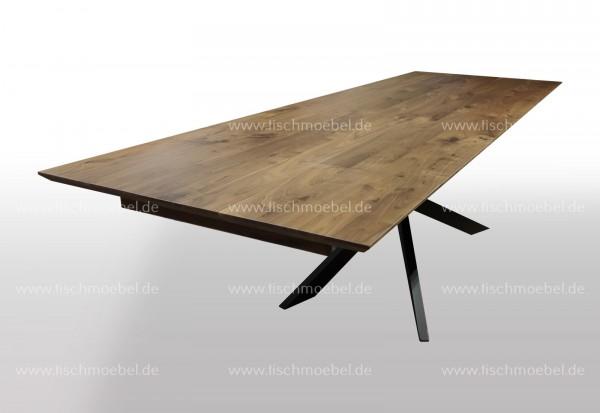 Esszimmertisch Nussbaum ausziehbar auf Spider Tischgestell 190x90