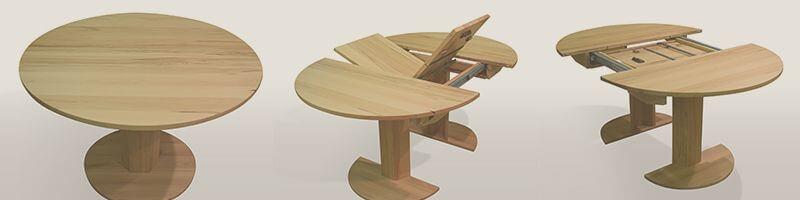 Runder Tisch Massiv Mit Auszug Auf Mass Tischmoebel De