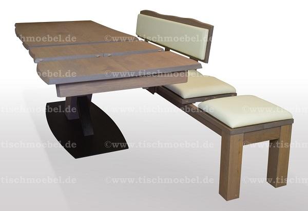 Esstisch-mit-baumkante-Wildeiche-ausziehbar-mit-sitzbank-auf-schwarzstahl-x-untergestell