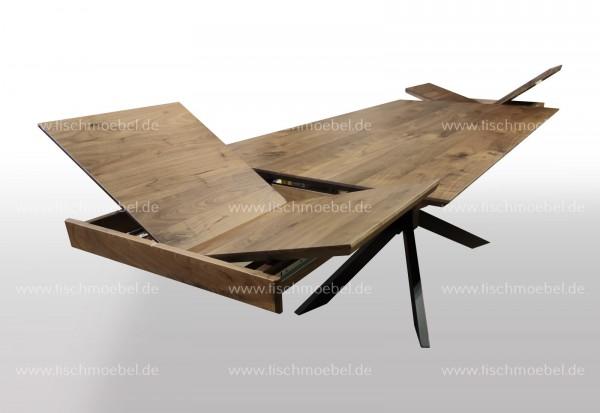 Holztisch Nussbaum ausziehbar auf Spider Tischgestell 210x100