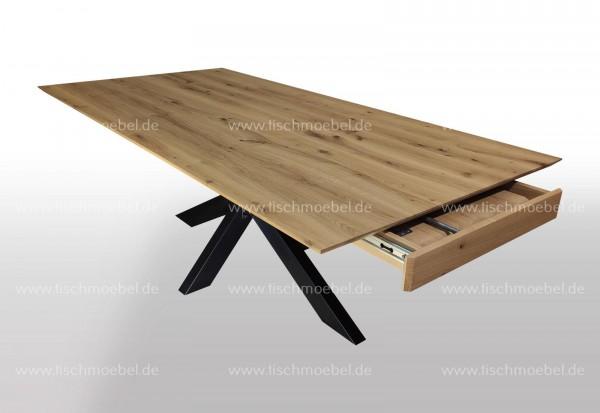 Esstisch Wildeiche massiv ausziehbar auf Spider Tischgestell Schwarzstahl 170x90cm