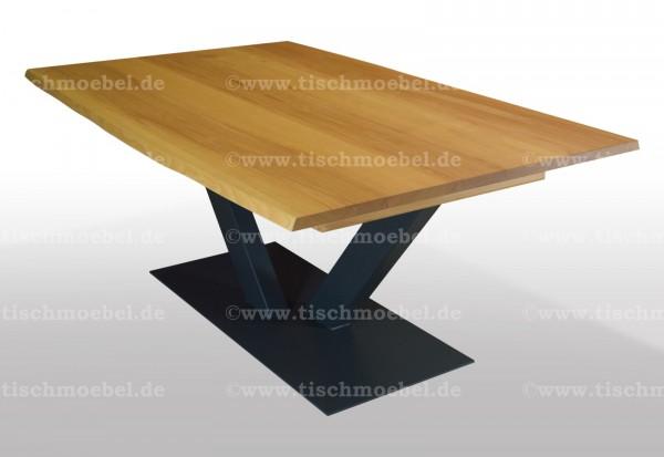 Esstisch mit Baumkante aus Kernbuche 240x120 auf V - Untergestell