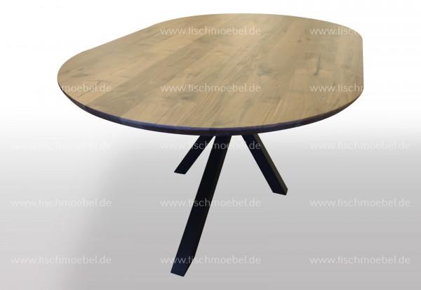 ovaler Massivholz Nussbaum Tisch auf Spider Tischgestell 220x100cm