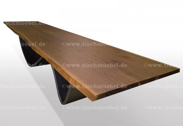 esstisch-mit-baumkante-nussbaum-wave-untergestell-edelstahl 210x100cm