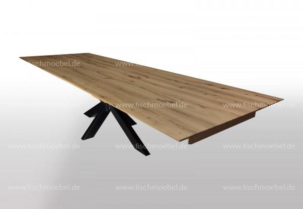 Tisch Eiche massiv ausziehbar auf Spider Tischgestell Schwarzstahl 130x90cm