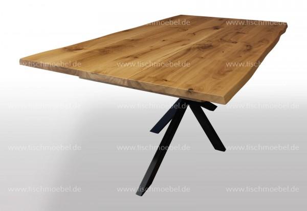 Baumtisch ausziehbar auf Kreuzgestell nicht ausgezogen Seitenansicht