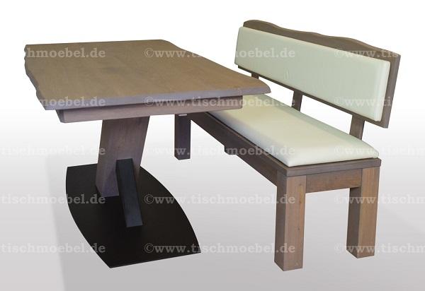 Baumtisch-Wildeiche-ausziehbar-mit-sitzbank-auf-schwarzstahl-x-untergestell-1