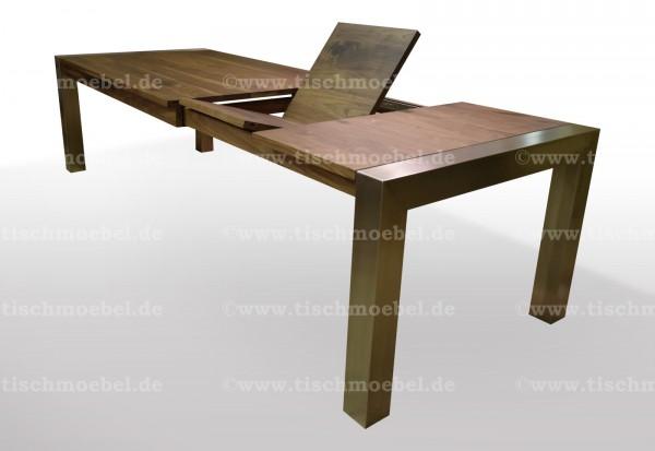 Holztisch nussbaum edelstahl ausziehbar min