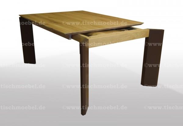 Esstisch Wildeiche filigranes design 140x110cm massiv und ausziehbar per Kopfkulissenauszug