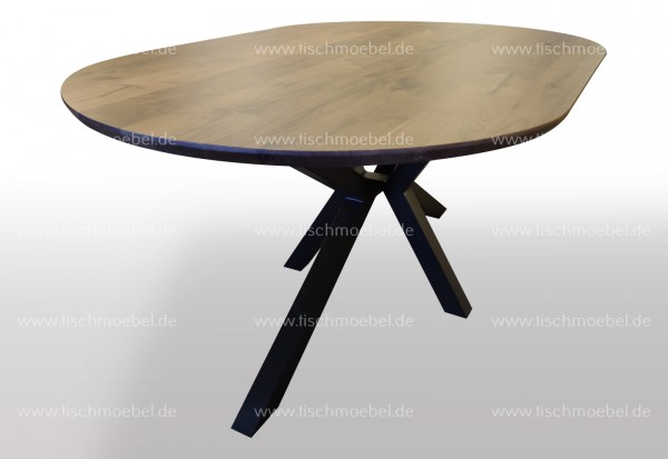 Ovaler Tisch Nussbaum auf Spider Gestell 160x110cm