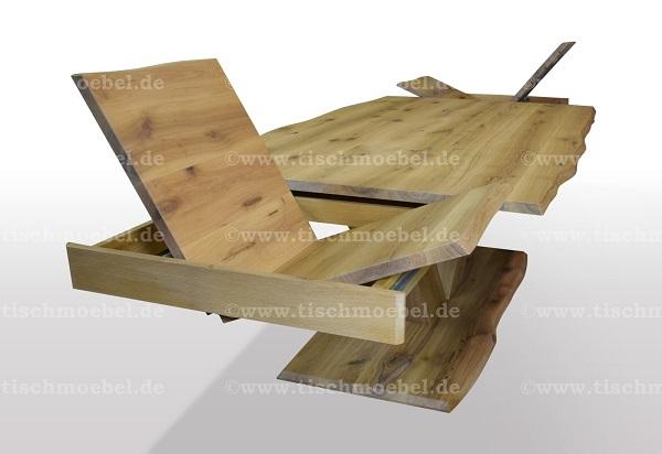 Esstisch-mit-naturkante-asteiche-massiv-ausziehbar-V-Untergestell